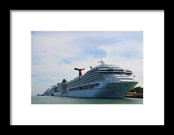 Cruise Liners Framed Print featuring the photograph Cruise Line - Miami Florida by Alex Vishnevsky