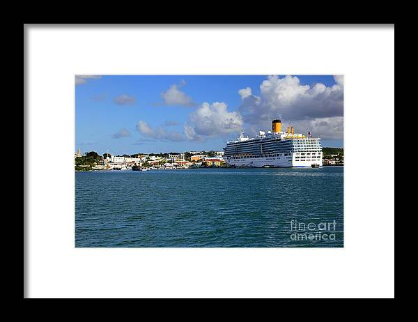 Antigua Framed Print featuring the photograph Cruise Ship in Antigua by Sophie Vigneault