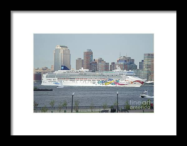 Cruise Framed Print featuring the photograph Cruise Ship On The Hudson by Evelyn Hill