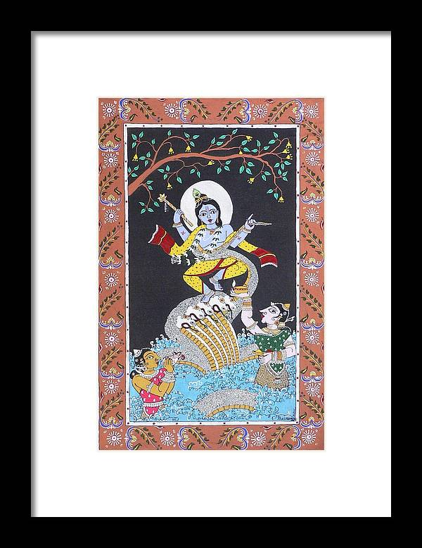 Lord Krishna Framed Print featuring the painting Crushing Ego by Prasida Yerra