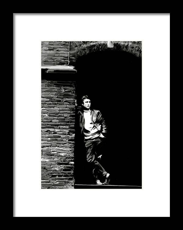 John Lennon Framed Print featuring the painting Cry For A Shadow John Lennon by Iconic Images Art Gallery David Pucciarelli