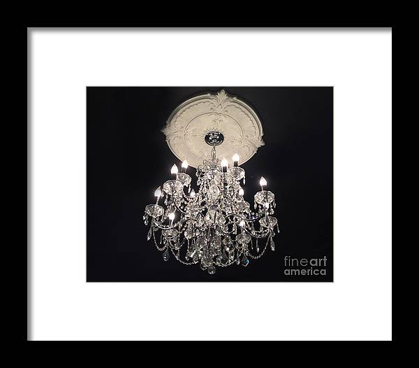 Paris Chandeliers Framed Print featuring the photograph Crystal Chandelier - Paris Black And White Chandelier - Sparkling Elegant Chandelier Opulence by Kathy Fornal