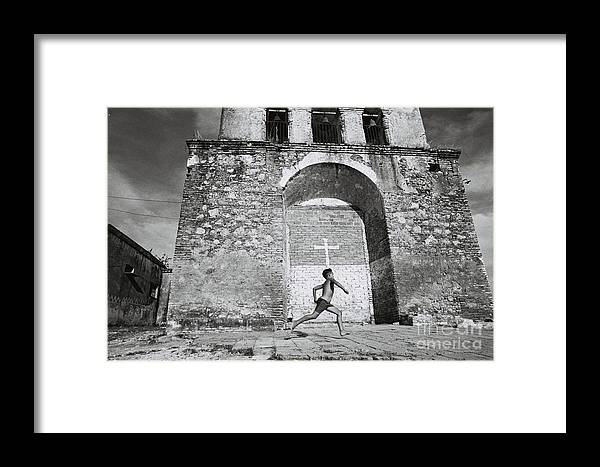 Cuba Framed Print featuring the photograph Cuba - Boy And Church by Maria Verdicchio