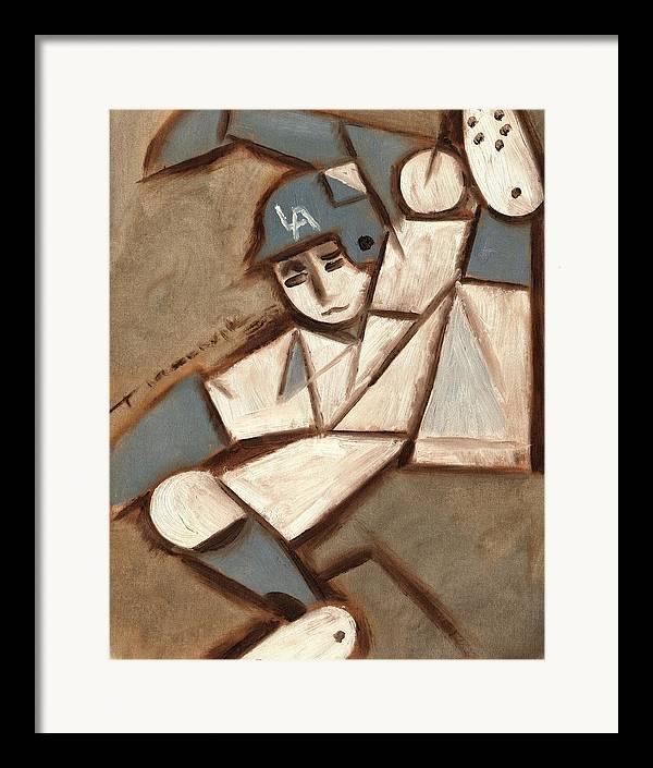 Los Angeles Dodgers Framed Print featuring the painting Cubism La Dodgers Baserunner Painting by Tommervik