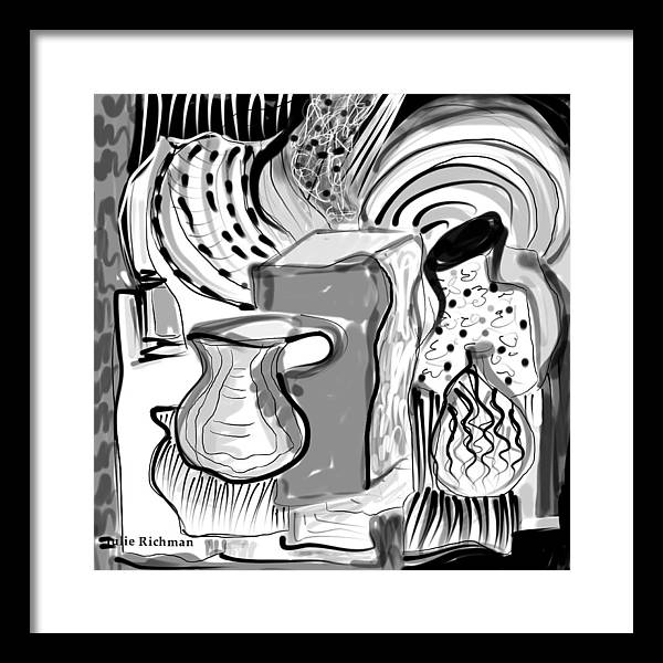 Cubist+drawing Cubism Black+white Digital Artistic Julie+richman Artist+drawing Framed Print featuring the drawing Cubist Still Life by Julie Richman
