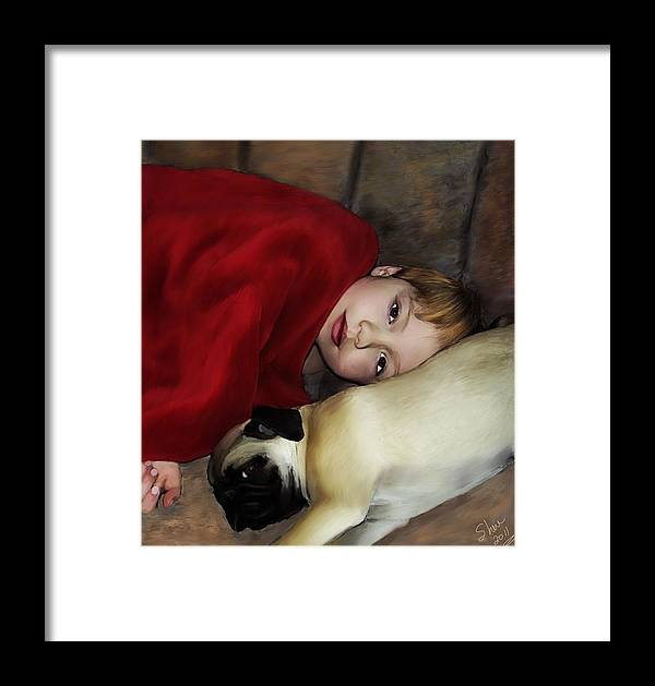 Pug Framed Print featuring the painting Cuddle Time by Shere Crossman