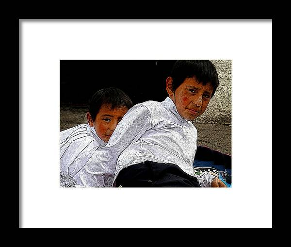 Boys Framed Print featuring the photograph Cuenca Kids 548 by Al Bourassa
