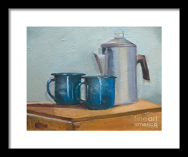 Classic Blue Tin Cups Framed Print featuring the painting Cup A La Joes by Marge Casey