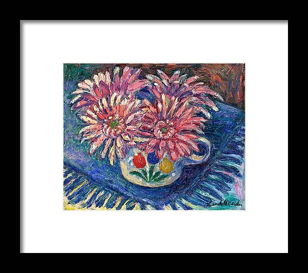 Kendall Kessler Framed Print featuring the painting Cup of Flowers by Kendall Kessler