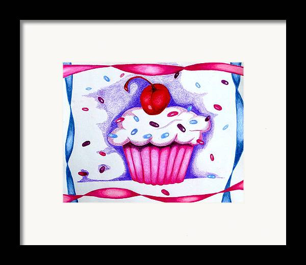 Cupcake Framed Print featuring the drawing Cupcake And Ribbons by Kori Vincent