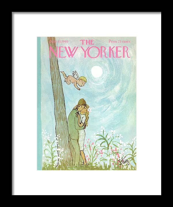 Kiss Framed Print featuring the painting Cupid Coupling by William Steig
