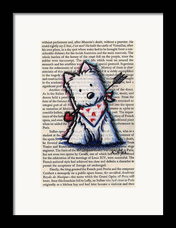 Cupid Framed Print featuring the drawing Cupid Westie by Kim Niles