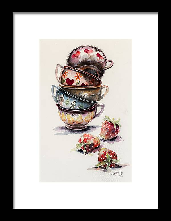 Cups Framed Print featuring the painting Cups And Strawberries by Kovacs Anna Brigitta