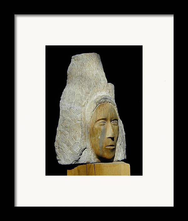 Sculpture Framed Print featuring the sculpture Curandera by Manuel Abascal