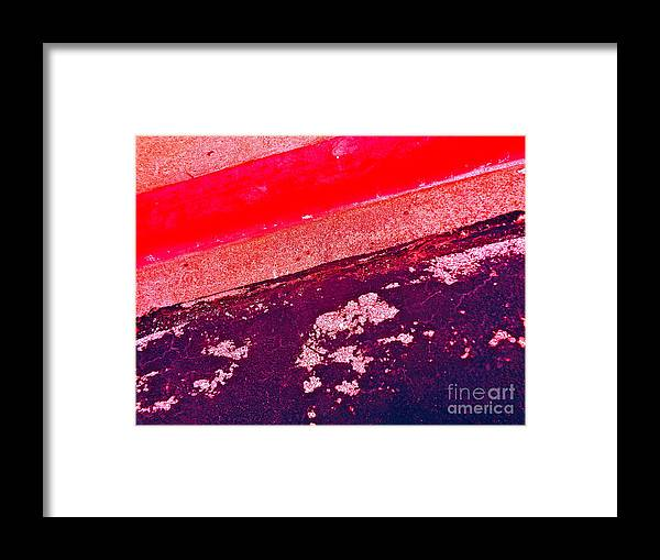 Red Framed Print featuring the photograph Curb Abstration by Chuck Taylor