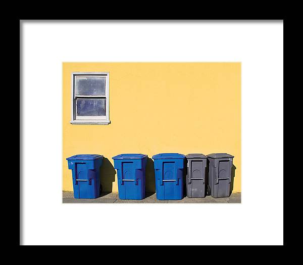 Trash Bins Framed Print featuring the photograph Curbside Trash Pick Up by Martin Alfaro