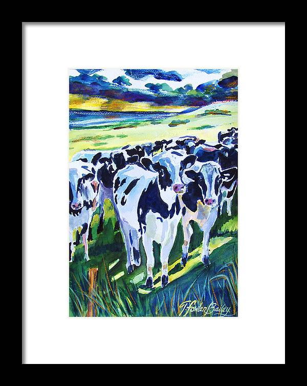 Holstein Framed Print featuring the painting Curiosity Cows Original Sold Prints Available by Therese Fowler-Bailey