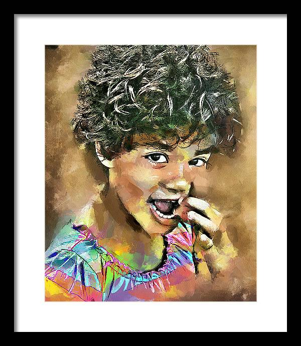 Curl Framed Print featuring the digital art Curled Black Hair by Yury Malkov