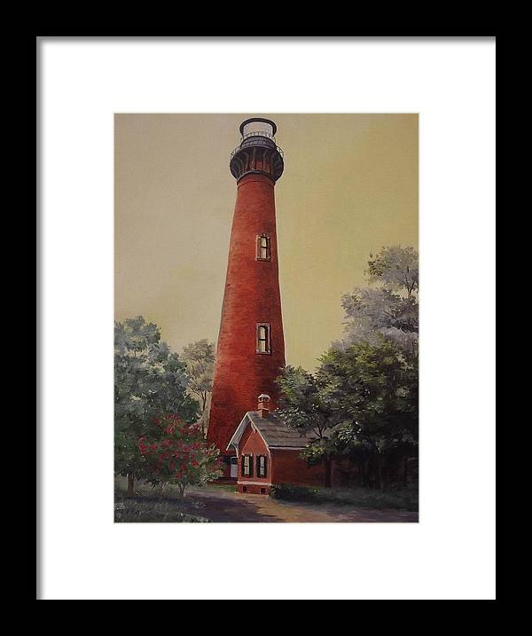 Lighthouse Framed Print featuring the painting Currituck Lighthouse by Wanda Dansereau