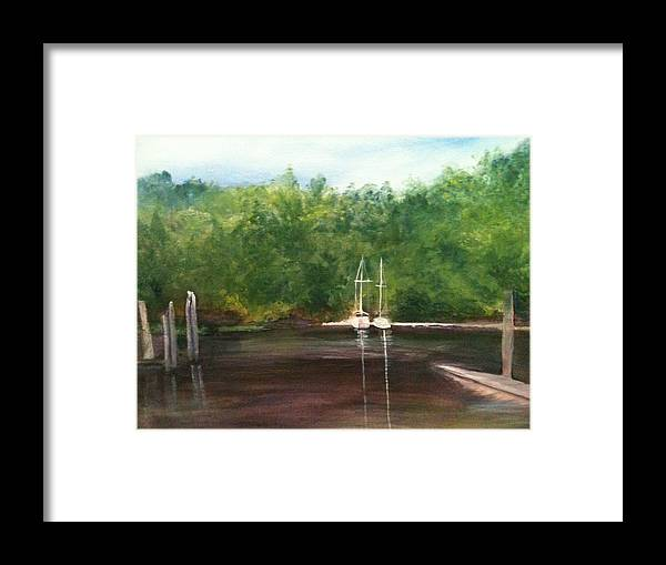 Plein Aire Framed Print featuring the painting Curtain's Marina by Sheila Mashaw