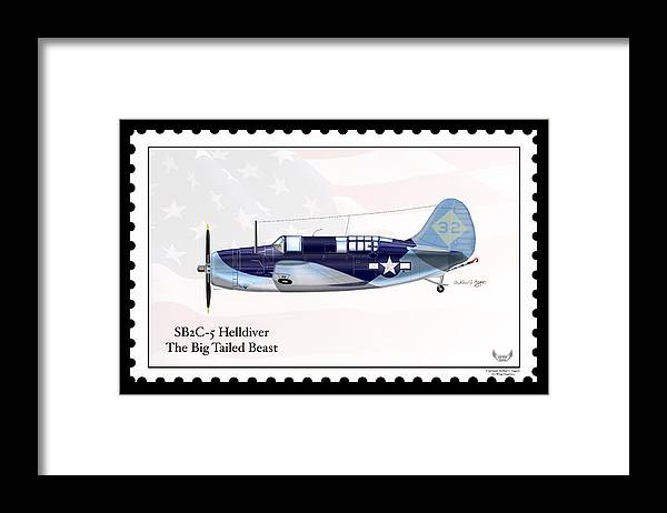 Curtiss Wright Framed Print featuring the digital art Curtiss Wright Sb2c-5 Helldiver by Arthur Eggers