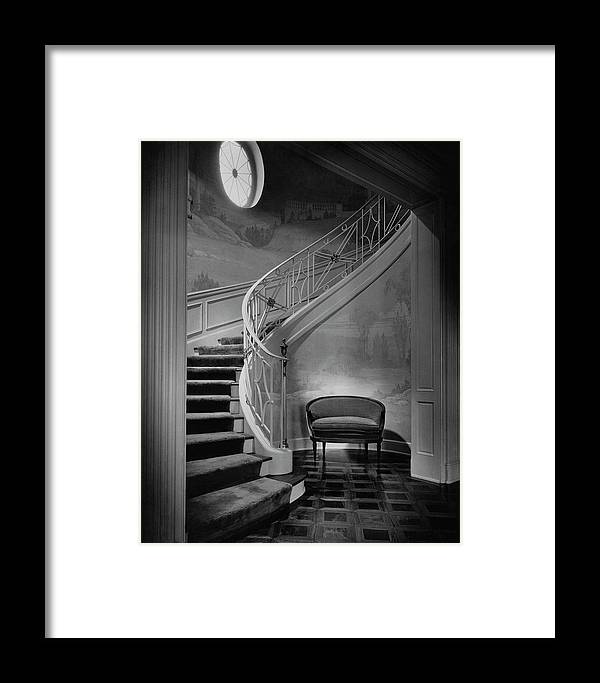 Interior Framed Print featuring the photograph Curving Staircase In The Home Of W. E. Sheppard by Maynard Parker