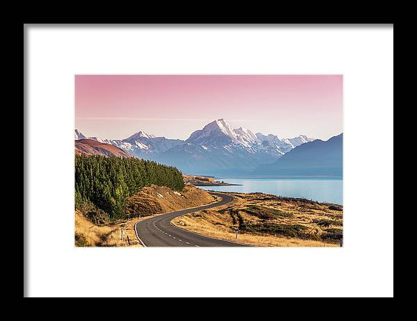 Tranquility Framed Print featuring the photograph Curvy Road Leading To Mt Cook Aoraki At by Matteo Colombo