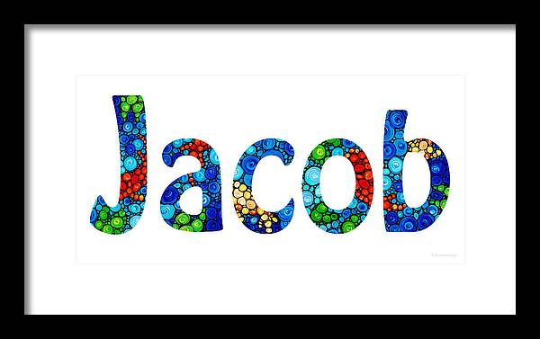Customized Baby Kids Adults Pets Names - Jacob Name Framed Print by ...