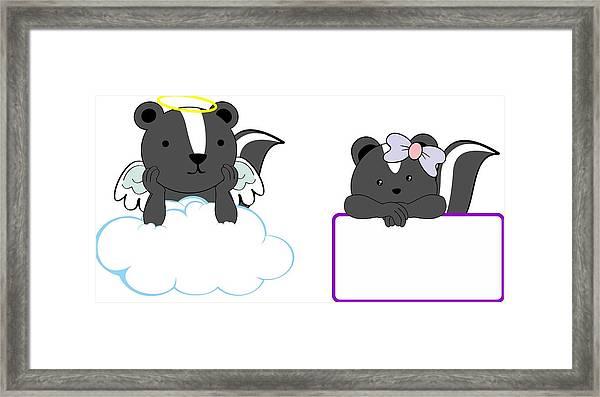Cute Little Angel And Girl Skunk Baby Cartoon Copyspace Framed Print