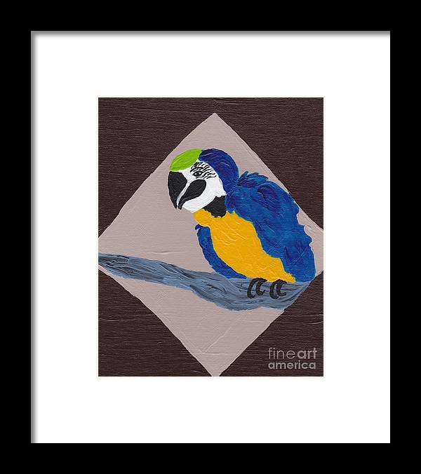 Cute Framed Print featuring the painting Cute Little Macaw by Melissa Vijay Bharwani