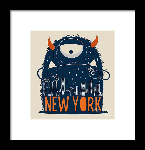 Symbol Framed Print featuring the digital art Cute Monster Vector Character Design by Braingraph