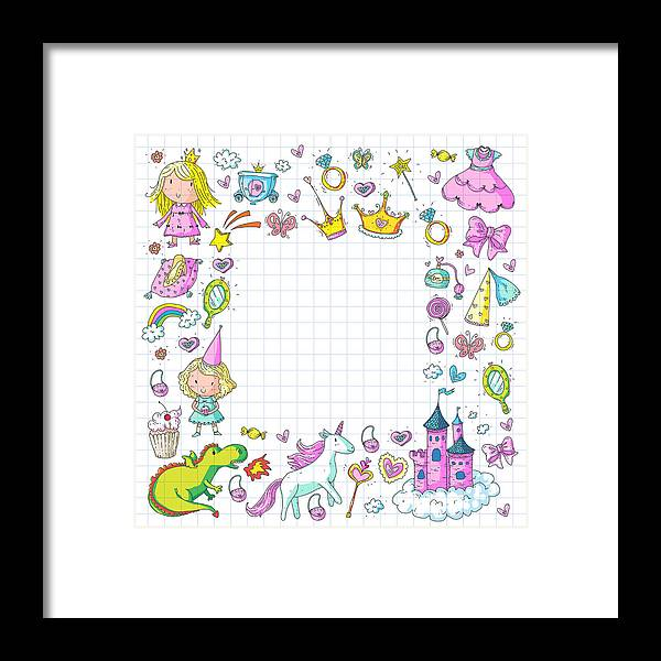 Horse Framed Print featuring the drawing Cute Princess Icons Set With Unicorn, Dragon Girl Wallpaper