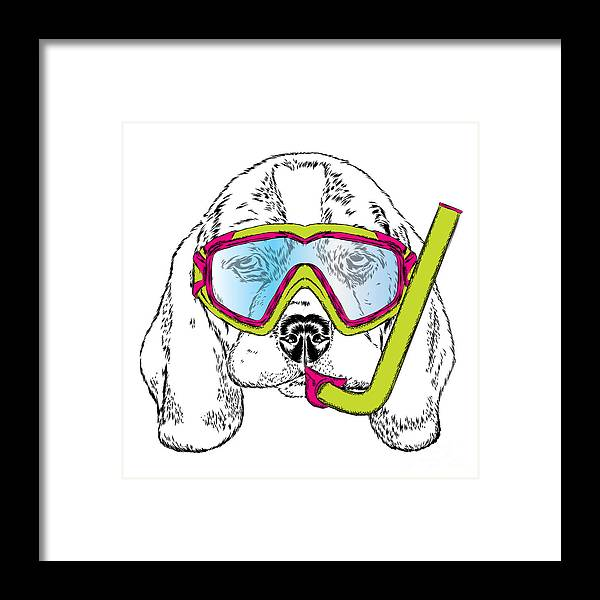 Trend Framed Print featuring the digital art Cute Puppy Wearing A Mask For Diving by Vitaly Grin
