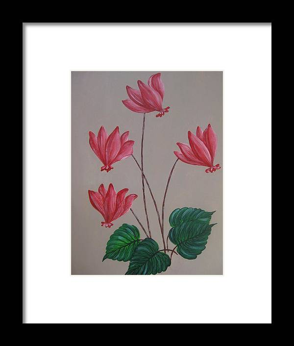 Floral Framed Print featuring the painting Cyclamen by Swathi Kurunji