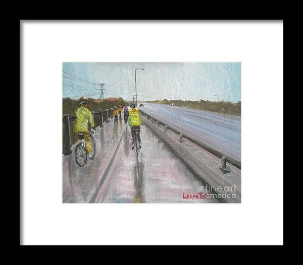 Bicycle Framed Print featuring the painting Cycle Club by Laura Toth