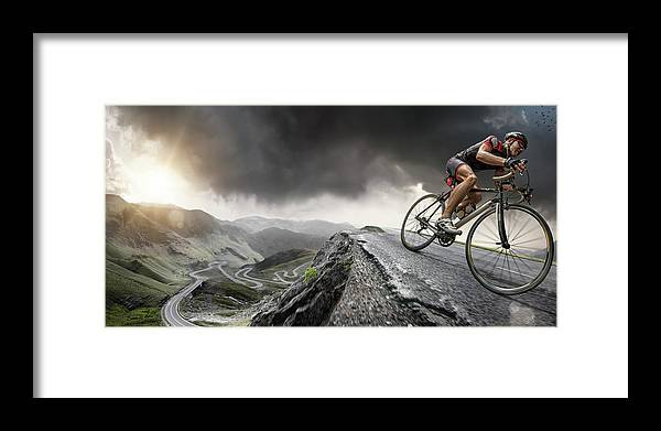 Sports Helmet Framed Print featuring the photograph Cyclist Climbs To The Top by Peepo