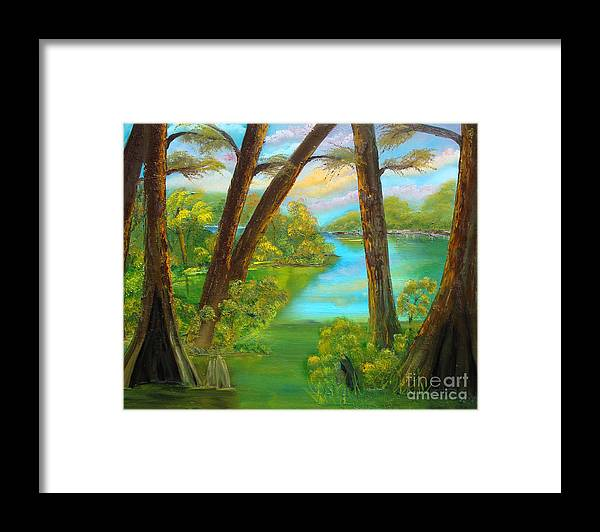 Cypress Framed Print featuring the painting cypress Hidout by Darlene Green