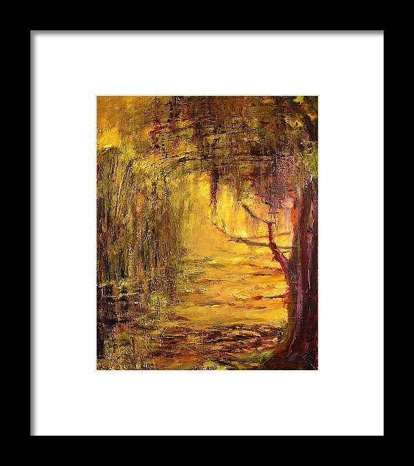 Nature Framed Print featuring the painting Cypress by Julianne Felton