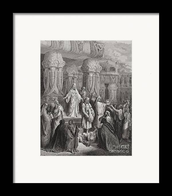 King Of The Persians Framed Print featuring the painting Cyrus Restoring The Vessels Of The Temple by Gustave Dore