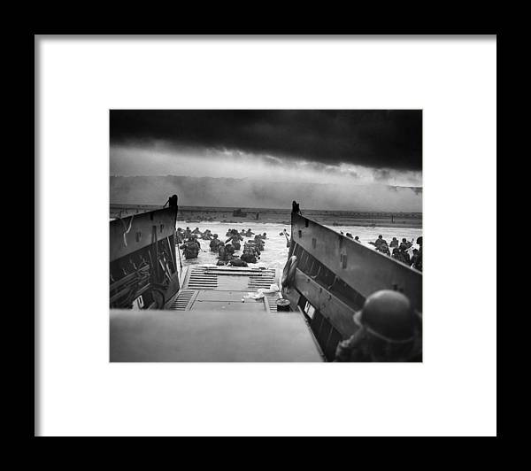 D Day Framed Print featuring the photograph D-Day Landing by War Is Hell Store
