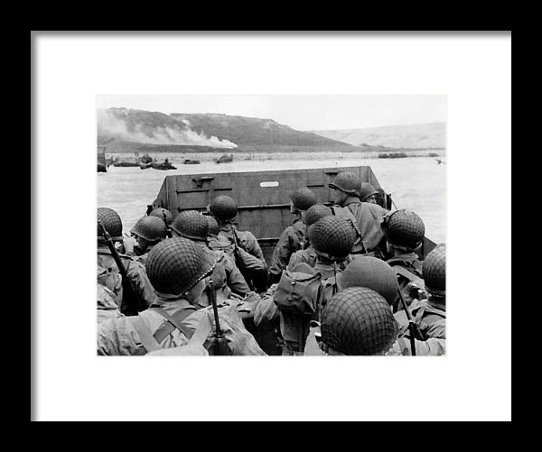 D Day Framed Print featuring the painting D-Day Soldiers In A Higgins Boat by War Is Hell Store