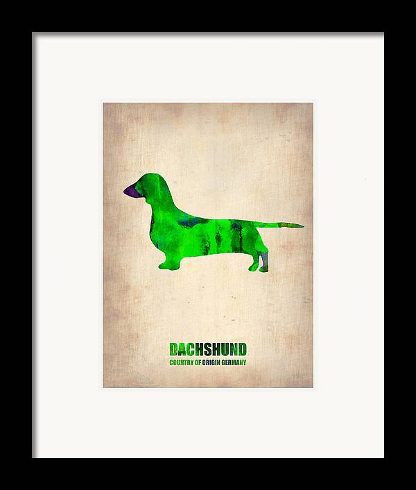 Dachshund Framed Print featuring the painting Dachshund Poster 1 by Naxart Studio