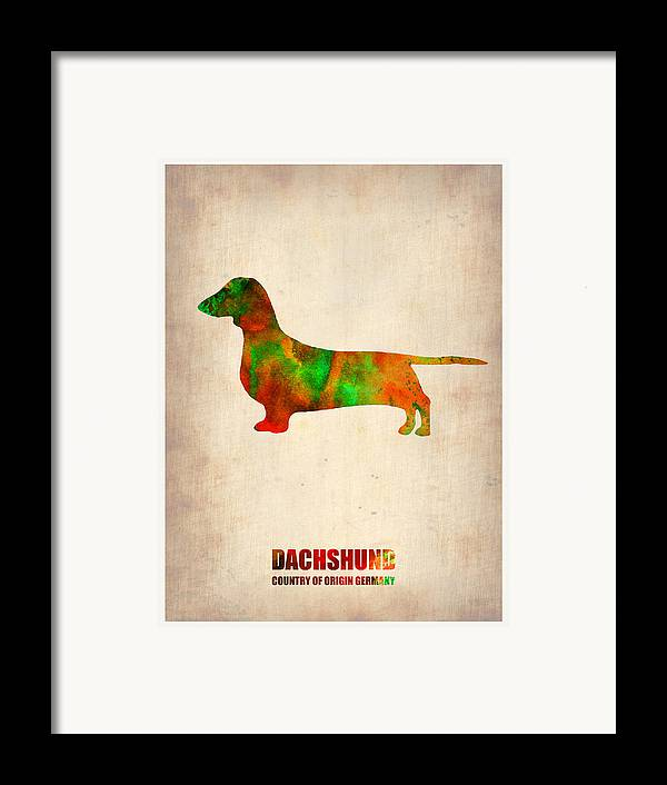 Dachshund Framed Print featuring the painting Dachshund Poster 2 by Naxart Studio