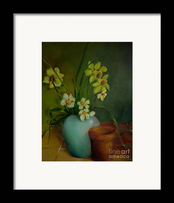 Greeting Card Framed Print featuring the painting Daffodils          Copyrighted by Kathleen Hoekstra