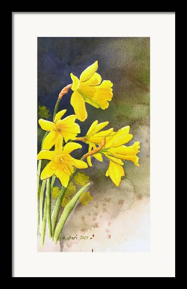 Rick Huotari Framed Print featuring the painting Daffodils by Rick Huotari
