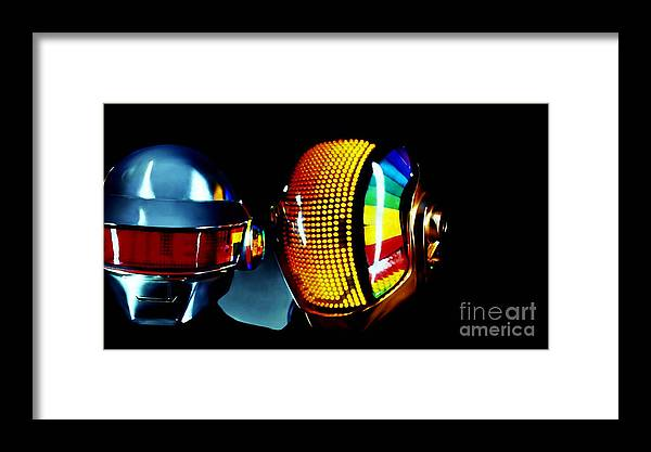 Tron Paintings Framed Print featuring the mixed media Daft Punk by Marvin Blaine