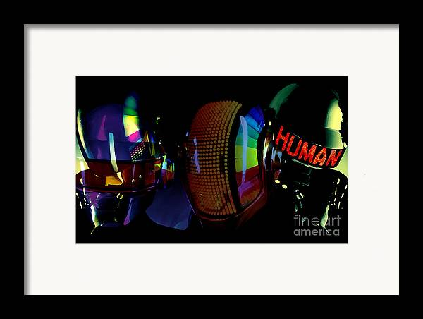 Tron Paintings Framed Print featuring the mixed media Daft Punk Painting by Marvin Blaine
