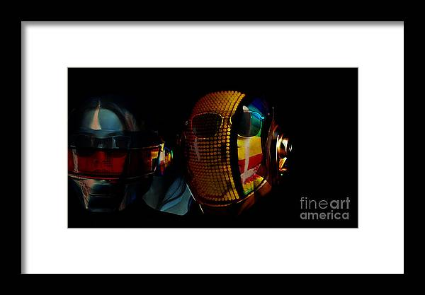 Tron Paintings Mixed Media Framed Print featuring the mixed media Daft Punk Pharrell Williams by Marvin Blaine