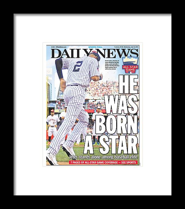American League Baseball Framed Print featuring the photograph Daily News Back Page Derek Jeter by New York Daily News