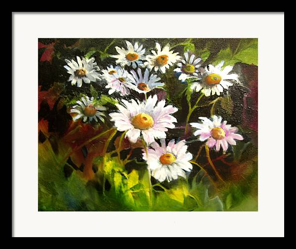 Flowers Framed Print featuring the painting Daisies by Robert Carver
